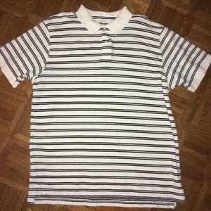 LL Bean Striped Golf Shirt XXL. White w/stripes